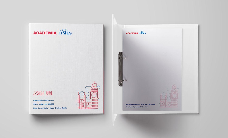 Diseño identidad corporativa Academia Times por Andrea Candamio